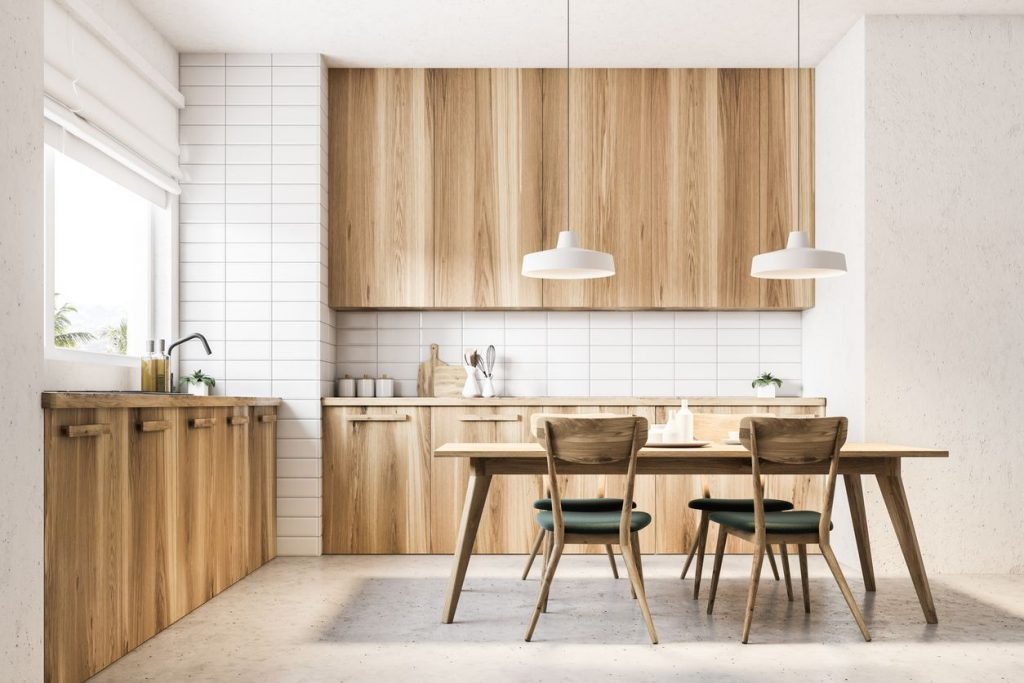WOODEN KITCHEN AND DINING ROOM